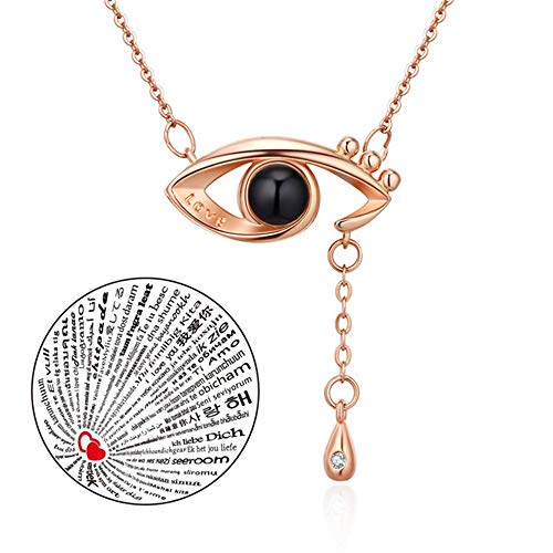 Inf-way I Love You Necklace, 100 Languages Projection on Round Onyx Pendant Loving Memory Collarbone Necklace 1 Pcs (925 Eye Gold)