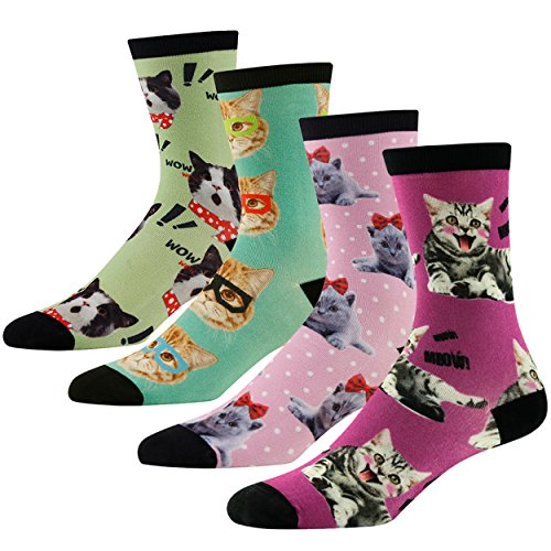 4-Pack Novelty Dress Socks, J'colour Womens Mnes Crazy Colorful Fun Cats Printed Gift Packaged Casual Sports Crew Socks, 4 Pairs
