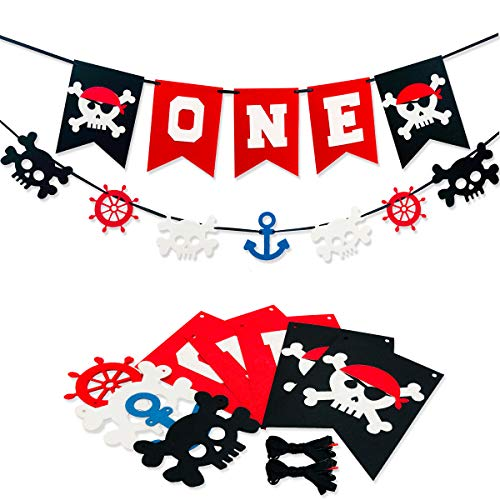 (Pirate ONE Banner, Pirate Party Garland, Felt Highchair Banner for Photo Prop Baby Shower Boy Girl First Birthday Decorations, High chair Decor, Beach Party 1st Birthday Party Supplies)