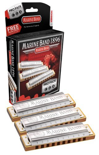 Hohner 3P1896BX Marine Band Harmonica, Pro Pack, Keys of C, G, and A Major