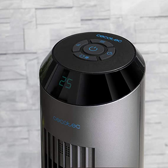 Cecotec Ventilador de Torre ForceSilence 8190 Skyline Ionic 33, 60 W, Digital con función ionizador, con Mando, 3 velocidades, Motor de Cobre, Gris