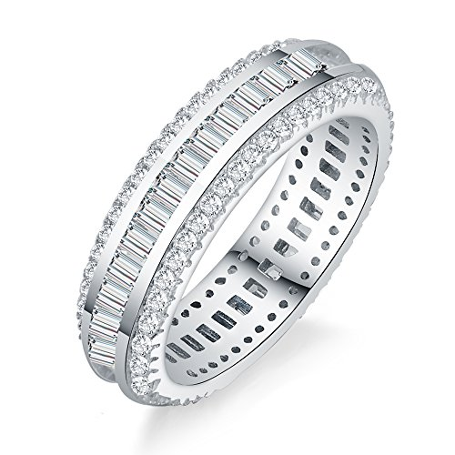 AoedeJ Round & Baguette Cut CZ 925 Sterling Silver Anniversary Wedding Engagement Band Eternity Ring ()
