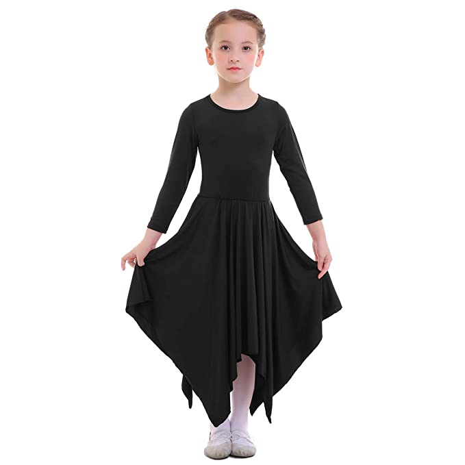 45d70d35bc70 Girls Irregular Hem Asymmetric Liturgical Praise Dance Dress Loose Fit Full  Length Long Sleeve Church Circle