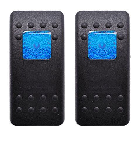Bar Lens - Carling Contura II Actuator Black Button Blue Square & Bar Lens (Pack of 2)