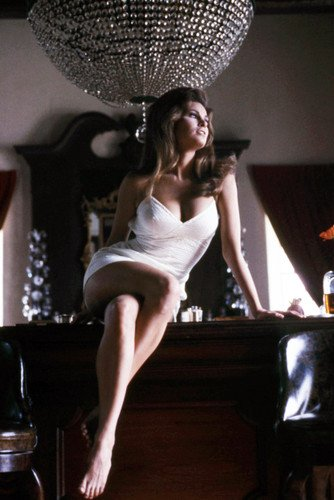 Raquel Welch 24X36 Poster Sexy Barefoot Pose In Busty Dress Sitting On Bar Top -