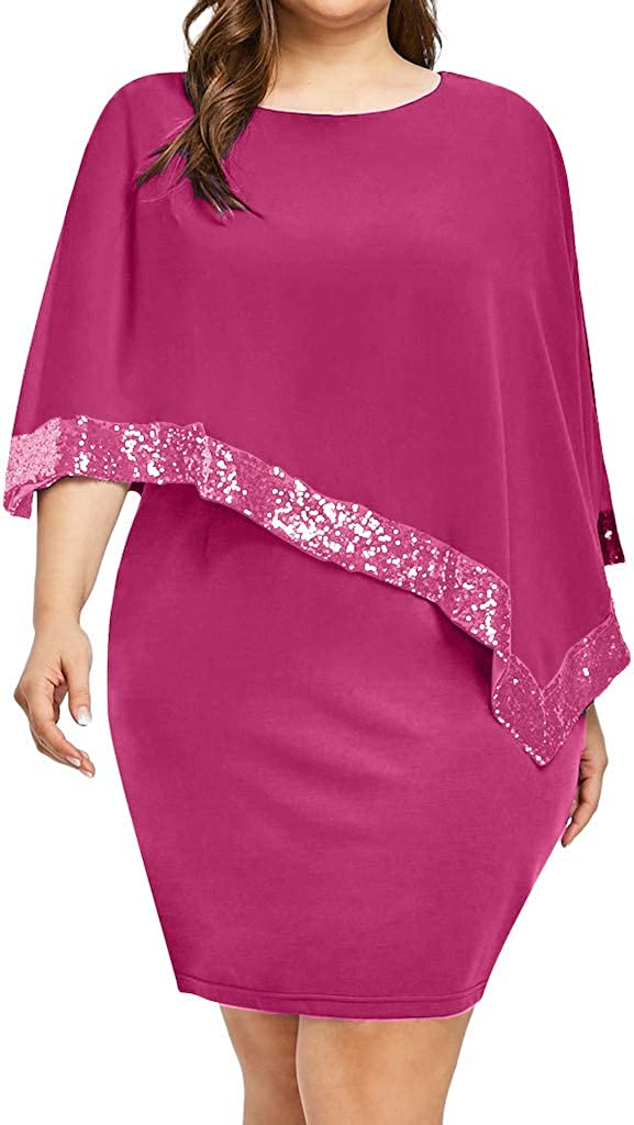 Dresses for Women Asymmetric Chiffon Sequins Wrap Dress Cold Shoulder Casual Cocktail Party Sundress