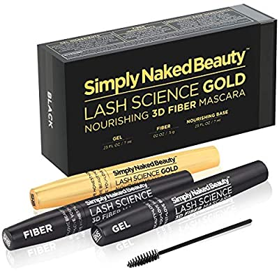 3D Fiber Lash Mascara with Eyelash Enhancing Serum in gold tube by Simply Naked Beauty. Infused with Organic Castor Oil nourishes lashes, promotes growth. Hypoallergenic ingredients. Waterproof. Black