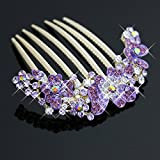 Aukmla Flora Fashion Hair Combs with Rhinestones for Women and Girls (Purple)