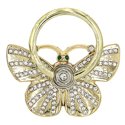 Butterfly Shape Rhinestone Rhinestone Cell Phone Ring Stands Phone Ring Holder for iphone and Tablets with Strong Plastic Box - Shape A Of Butterfly