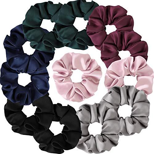Satin Scrunchies, BETITETO Set of 12 Soft Ponytail Holder Bobbles Hair Scrunchy Vintage Hair Bands Ties for Women Girls (Multicolored-Large)