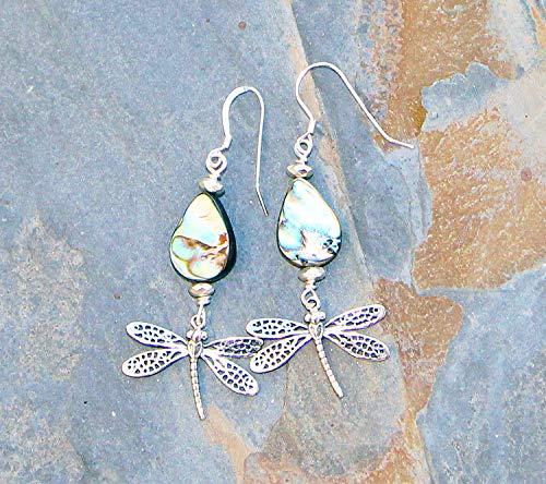 Dragonfly Earrings, Abalone Earrings, Sterling Silver Earrings, Green Earrings, Dangly Earrings, Shell Earrings, Insect Earrings, Dragonfly Jewelry, Handmade Earrings