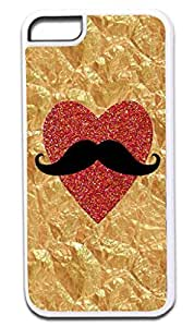 Crinkled Gold Foil PRINT -Glitter Heart PRINT-Mustache Case for the APPLE IPHONE 6 ONLY!!! NOT COMPATIBLE WITH THE IPHONE 6 PLUS!!!-Hard White Plastic Outer Case with Tough Black Rubber Lining