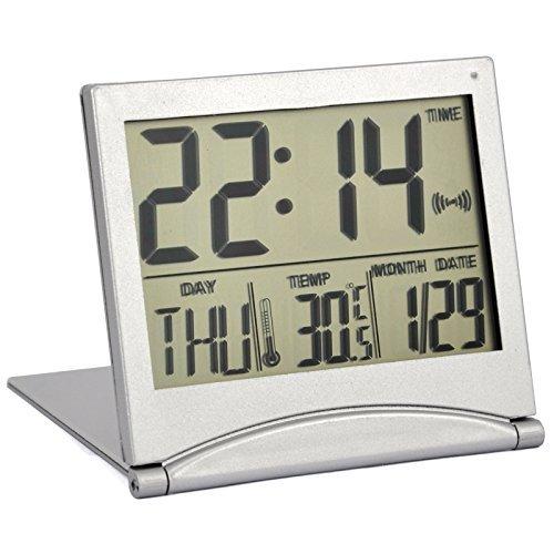 TRIXES Silver Digital LCD Desk Top Temperature Alarm Clock