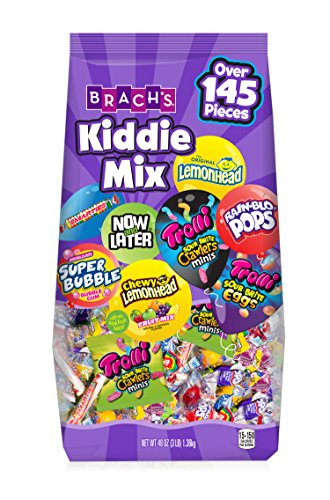 Candy Mix - Brach's Kiddie Mix, 48 Ounce Assorted Candy Bag with Trolli, Brach's, Now & Later, Super Bubble, Smarties, Lemonhead and more