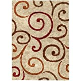 Better Homes and Gardens 5 x 7-Feet Swirls Area Rug, Beige