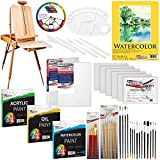 US ART SUPPLY 121-Piece Custom Artist Painting Kit with Coronado Sonoma Easel, 24-Tubes Acrylic Colors, 24-Tubes Oil Painting Colors, 24-tubes Watercolor Painting Colors, 2-each 16'x20' Artist Quality Stretched Canvases, 6-each 11'x14' Canvas Panels, 11'x14' Watercolor Paper Pad, 10-Natural Hair Bristle Paint Brushes, 7-Nylon Hair Paint Brushes, 15-Multipurpose Paint Brushes, Trowel, Pallete Knife, 17-Well Paint Mixing Pallete