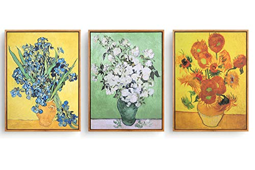 - Hepix 3PCS Sunflowers Wall Art, Van Gogh Famous Oil Paintings Floral Print Irise, Modern Giclee Classic Wall Artwork Abstract Framed Canvas Wall Pictures for Home Office Decor, Ready to Hang 17x13inch