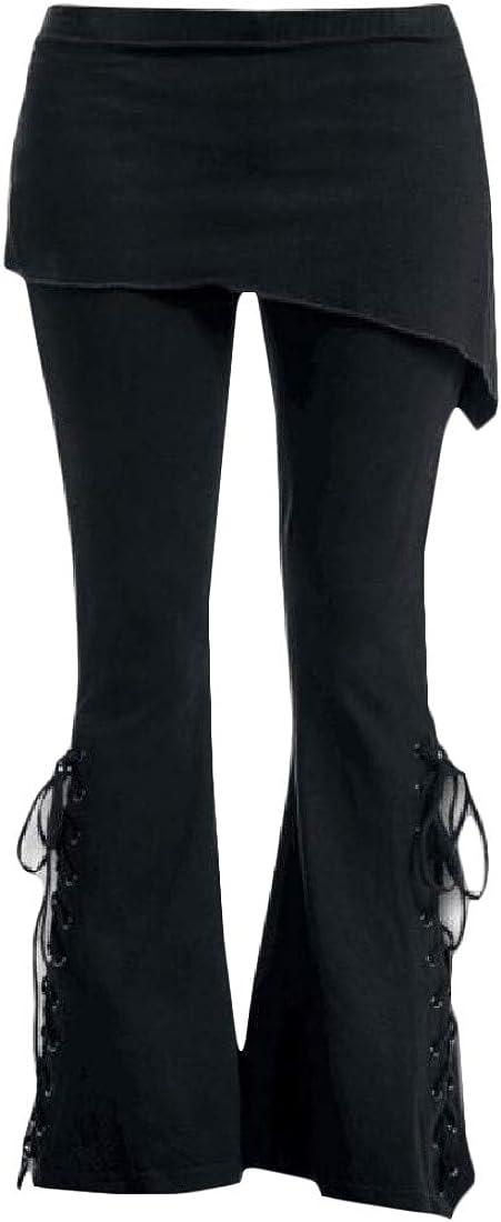 YULEgowinner Women Drawstring Bell Bottom Trousers Solid Printed Pants