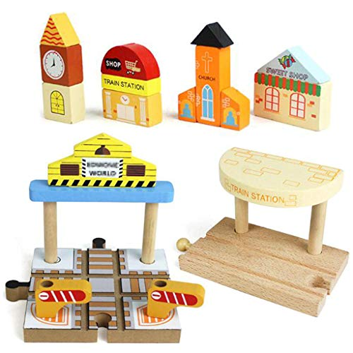 OrgMemory Wooden Train Track Set, Wooden Railway, Train Stations, Cross Track, Sweet Shop, Wood Church, Clock Tower Compatible with All Major Brands