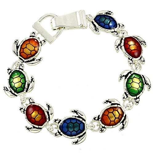 Silver Tone Magnetic Clasp Tropical Ocean Theme Multicolor Sea Turtle Charm Bracelet for Women and Teens