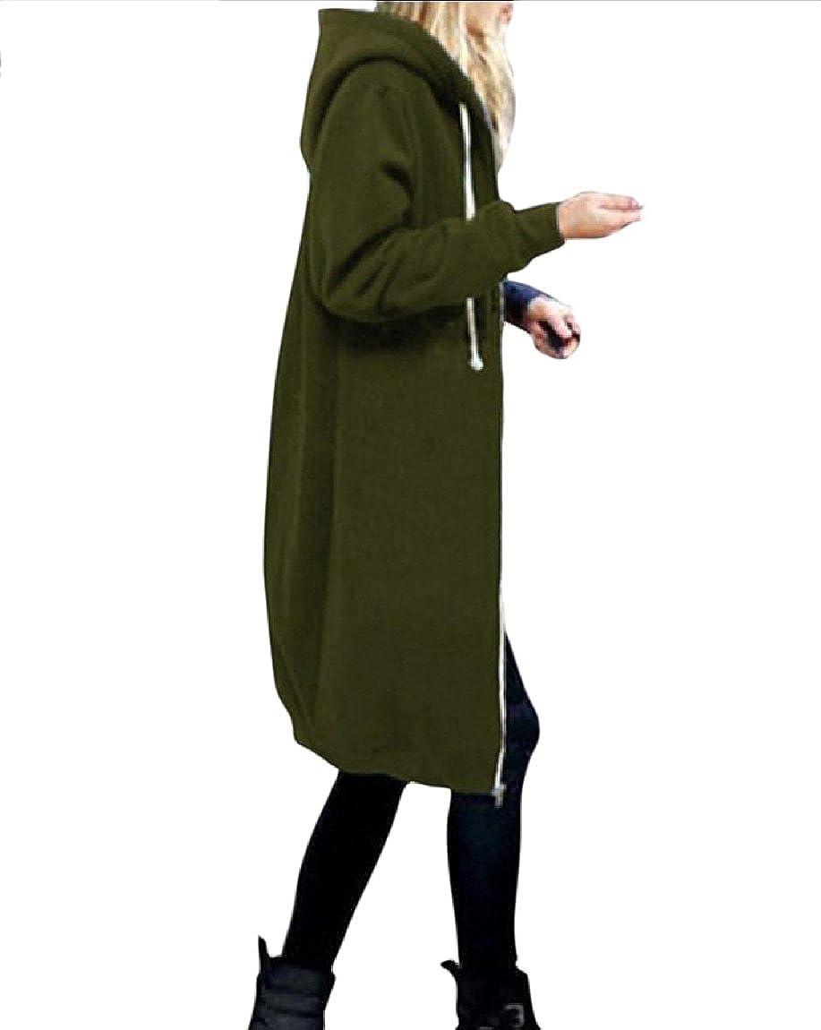 Vska Women's Oversized Hooded Plus Velvet Fall Winter Zip Coat Jacket