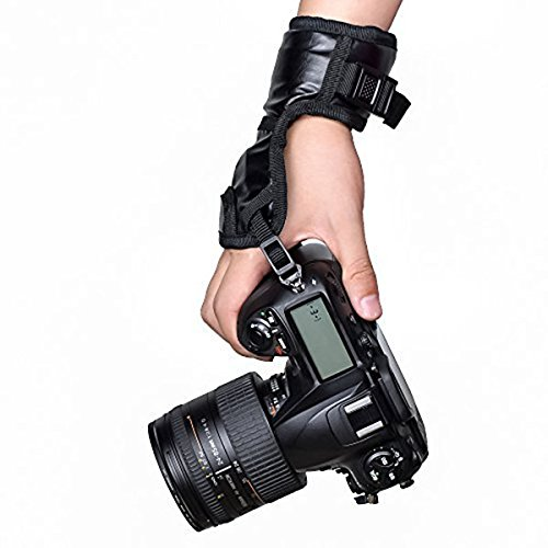 Digital Slr Housings - Digital Cameras Leather Stabilizing Hand Wrist Strap with Dual Grip Belt Band for Nikon/ Canon/ Sony/ Pentax/ Olympus/ Kodak/ Film Dslr and More - Bla
