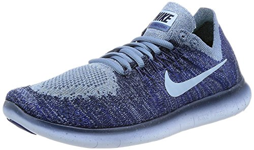 Nike Womens Free RN Flyknit 2017 Running Shoes Ocean Fog/Cirrus Blue/College Navy 880844-404 Size 8.5 - Tigers Navy Blue Mesh