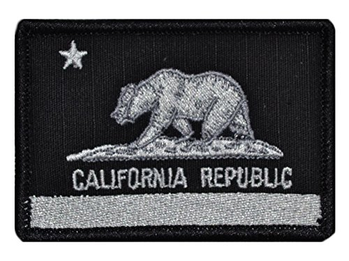 Flag of California State Bear Flag 2x3 Morale Patch - Black (Bear Flag Patch)