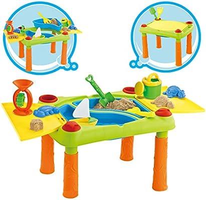 deAO Mesa para Agua y Arena con Compartimento Doble y Tapas Mesita ...
