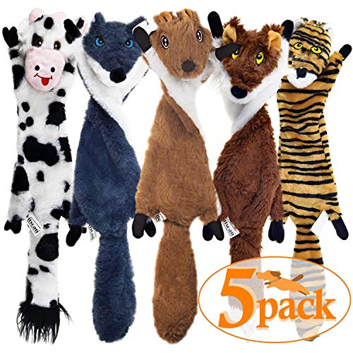 SHARLOVY Dog Squeaky Toys 5 Pack, Crinkle Dog Toy No Stuffing Animals Dog Plush Toy Dog Chew Toy for Large Dogs and Medium Dogs