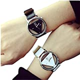 GOTD 2PCS Unique Hollowed-out Triangular Dial Black Fashion Watch for Lover Couple