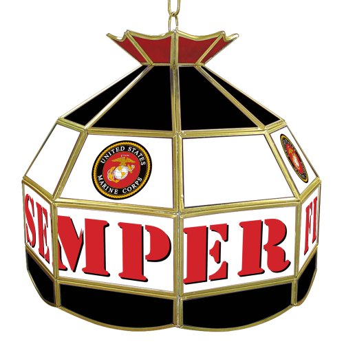 United States Marine Corps Tiffany Gameroom Lamp, - Table Stained Glass Game State
