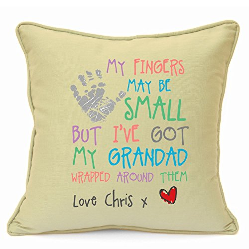 Personalized Presents Gifts For Grandad Grandpa Nanna Birthday Fathers Day Christmas Xmas My Fingers Heart Touching Poem Keepsake Cushion Cover 18 Inch 45 Cm Unusual Special Unique Idea