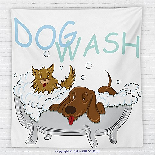 59 x 59 Inches nursery decor Fleece Throw Blanket Playful Dogs Bathing in a Bathtub Bath Time Grooming Clean Pets Theme Illustration Blanket