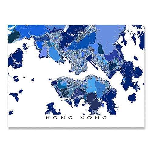Hong Kong Map Print, Asia City Street Art - Kong Es China Hong