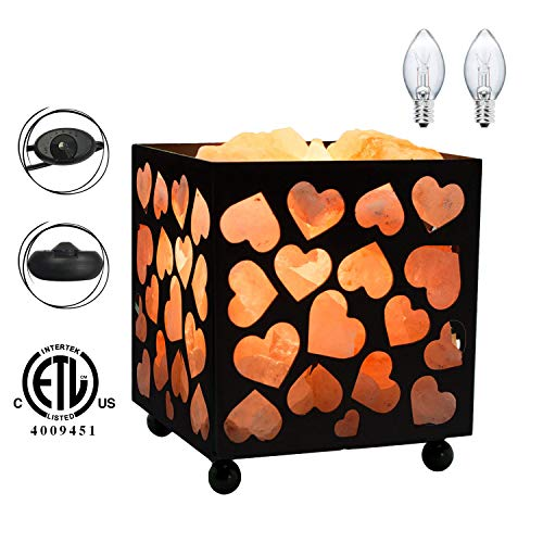 Himalayan Glow 1352B Natural Himalayan Night Light Salt Lamp, Heart Design Metal Basket with Dimmable Cord, Black