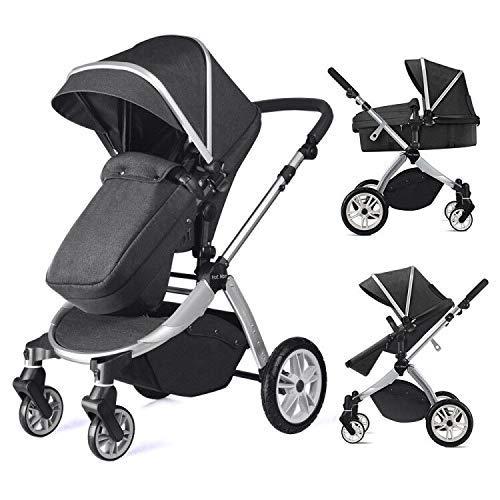 Multi cochecito 2 en 1 Carrito Bebe Hot Mom silla de paseo el capazo se convierte facilmente en una silla y viceversa 2020 estilo de vida 889, Asiento para bebe vendido por separado - Negro