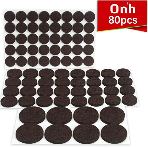 ON'H Furniture Pads 80pcs Round self-Stick Felt Furniture Pads with 3M Tapes Hardwood Floors Protectors