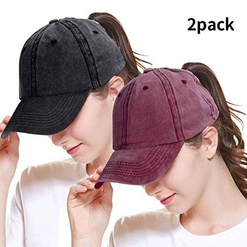 Price comparison product image ZOORON Ponytail Cap Glitter Messy High Bun Baseball Hat Washed Cotton Adjustable Trucker Hat for Girl Women 2 Pack Black Wine
