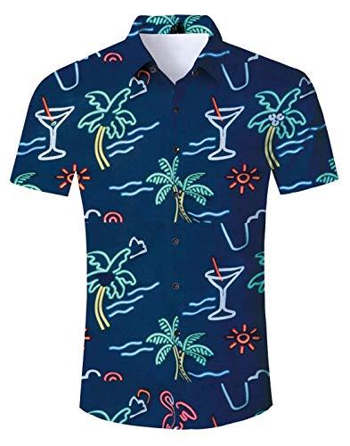 Uomo Abbottonata Idgreatim Corte Hawaiana A Grafica Stampato 12 Hawaiian Modello 3d Maniche Camicia Aloha aqq81wdrP