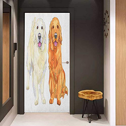 Front Door Sticker Golden Retriever Smiling Pale and Red Gun Dog Breed Sitting and Staying Thoroughbred for Home Decor W17.1 x H78.7 Orange Ivory Pink