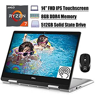 Flagship 2020 Dell Inspiron 14 5000 2 in 1 Laptop, 14'' FHD IPS Touchscreen, AMD Quad-Core Ryzen 7 3700U (Beat i7-7500U), 8GB DDR4 512GB SSD, Backlit KB FP Win 10 (Silver) + ePark Wireless Mouse