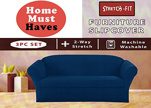 (STRETCH FORM FIT - 3 Pc. Slipcovers Set, Couch/Sofa + Loveseat + Chair Covers - Navy Blue Color, Stretch Pique Fabric by Orly'sDream)