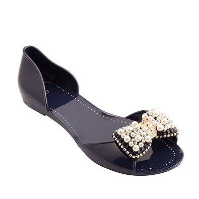 b99d61cd17b9e5 Omgard Women Sandals Summer Ribbon Bow Peep Toe Jelly Shoes Beach Sandal  Flat Shoes Color Blue