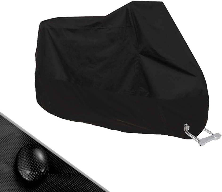 Flysee Funda para Moto Cubierta Protectora UV de la Motocicleta con Agujeros de Bloqueo, Impermeable y Resistente al Viento Lluvia Nieve,Antipolvo al Aire Libre, 190T, XXL 245X105X125cm,Negro