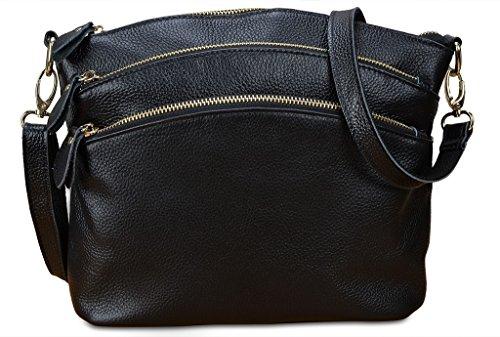 YALUXE Women's Triple Zipper Leather Organizer Purse Top Handle Cross Body Shoulder Bag Black - Large Single Compartment Tote Handbag