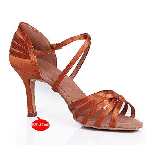 YFF Chaussures de danse latine femmes Satin beige semelle en cuir souple Chaussures de danses de bal 15 Heel Dark Tan iKWFPl