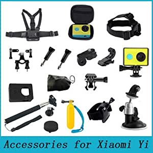ARBUYSHOP Accesorios fijado para Xiaomi Yi prueba de agua caja de la cubierta Monopod taza de la succión del pecho correa de muñeca de la cabeza de cinta para la cámara Xiao Yi Acción