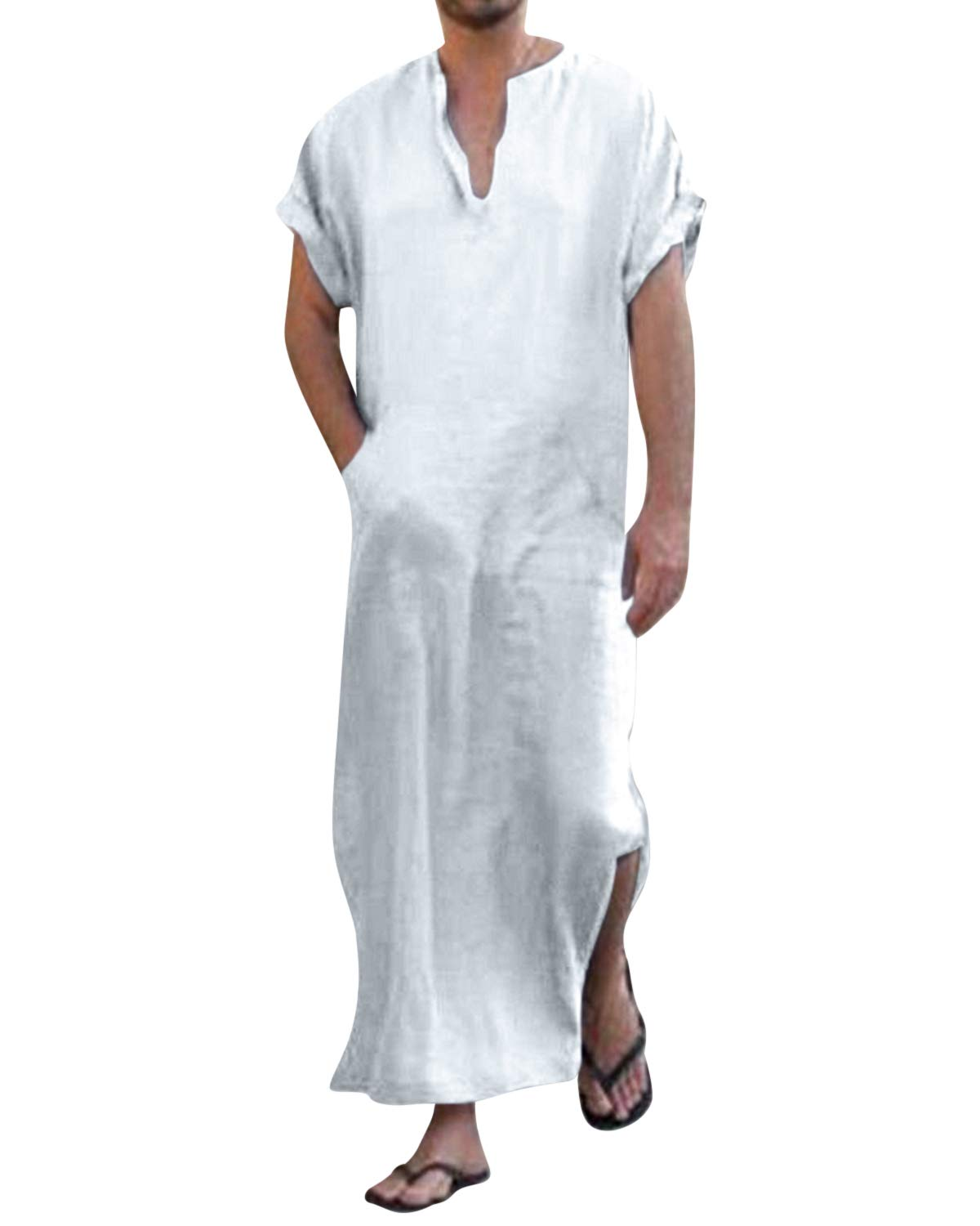 Jacansi Men's Casual Katan Ethnic Robes Side Split East Asian Long Robes with Pockets White M