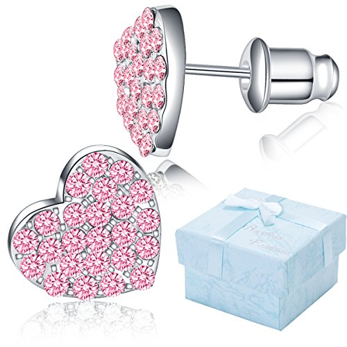 allergenic Surgical Steel Rhodium Plated Flat Heart Earring With CZ Stones And Push Backs - Pink ()